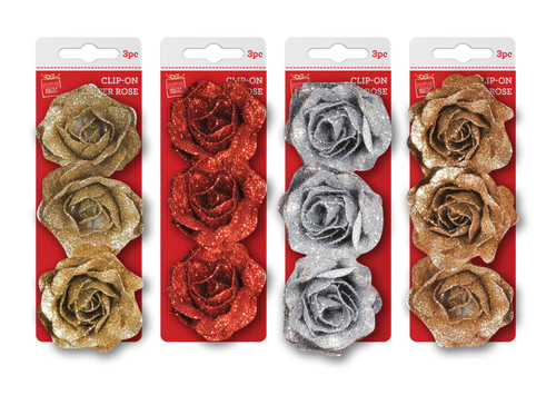CLIP ON GLITTER ROSE 3pce 6cm Choice of 4 Colours