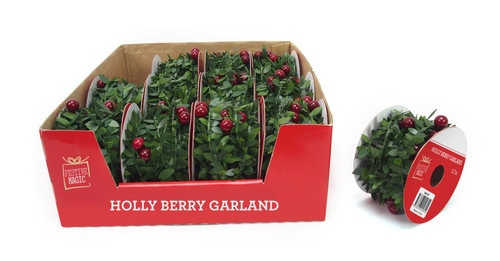 HOLLY  BERRIES GARLAND 2.7m