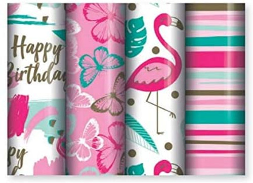 1.5m Gift Wrap Roll Pink with Butterflies
