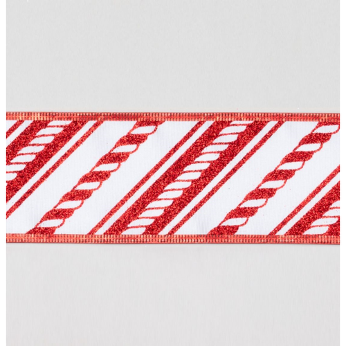 2.5in x 10 Yard Cane Ribbon Red and White