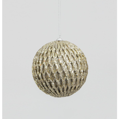 120mm Glitter and Sequin Ball Champagne