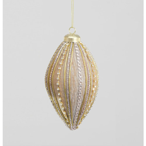 15cm Fabric/Bead Finial Decoration Champagne