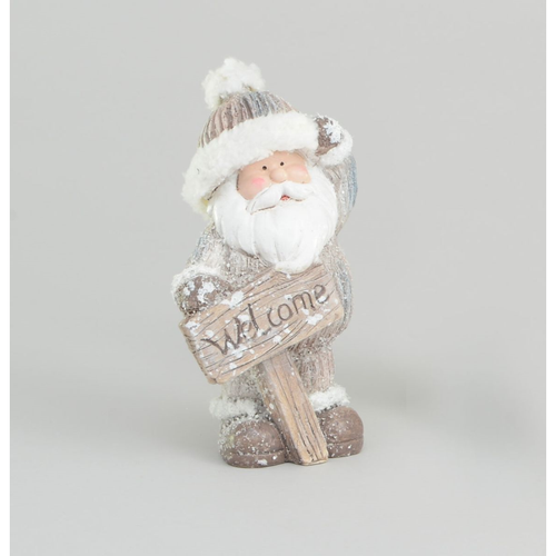 18cm Resin Santa With Welcome Sign