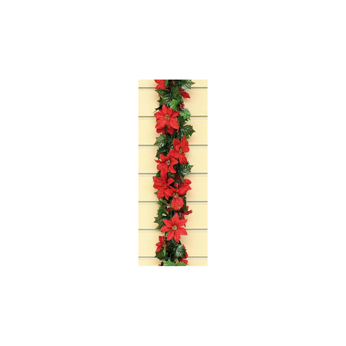 6ft Red Poinsettia Garland