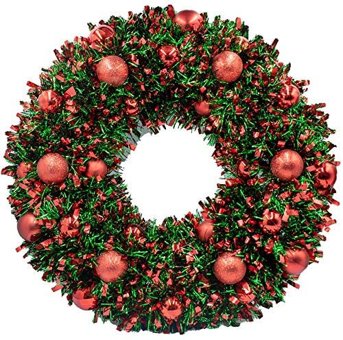 50cm Tinsel and Bauble Wreath Red Green