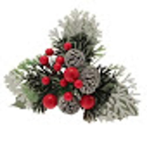Christmas Pick Red Berries 3 Cones Snow Tipped