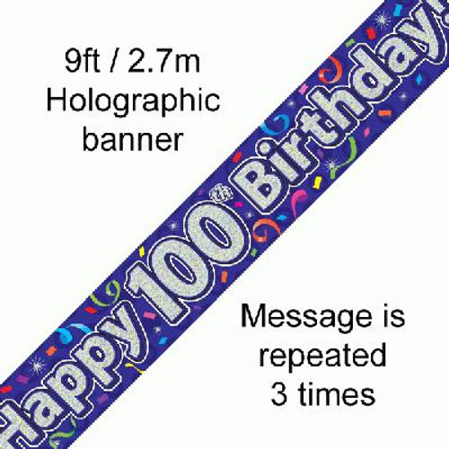 Birthday Streamers Banner Age 100 9ft