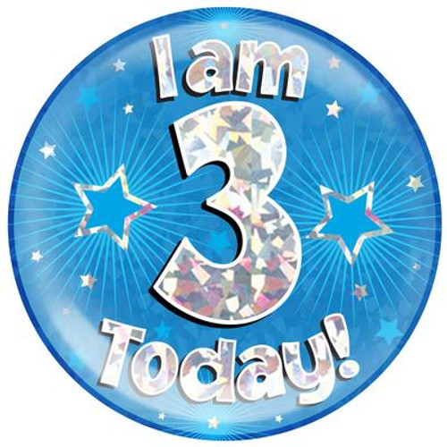 6in Jumbo Badge I Am 3 Today Blue