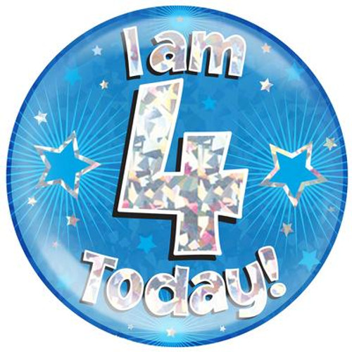 6in Jumbo Badge I Am 4 Today Blue
