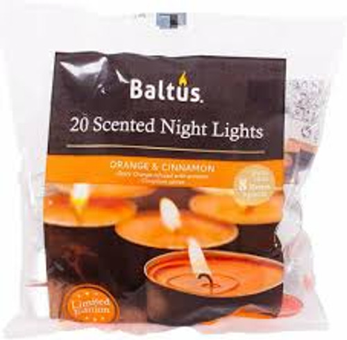 20 Scented Night Light Candles Orange And Cinnamon