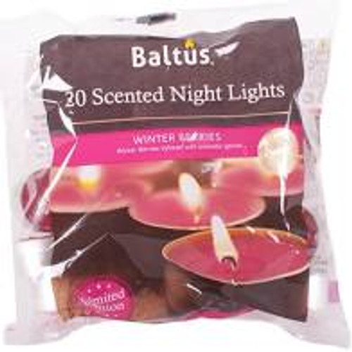 20 Scented Night Light Candles Winter Berries