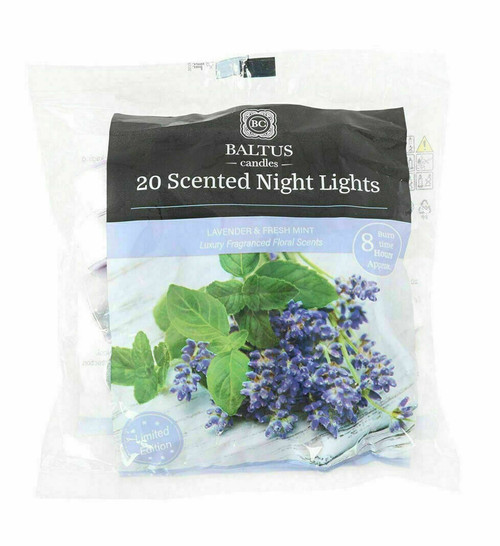 20 Scented Night Light Candles Lavender and Fresh Mint