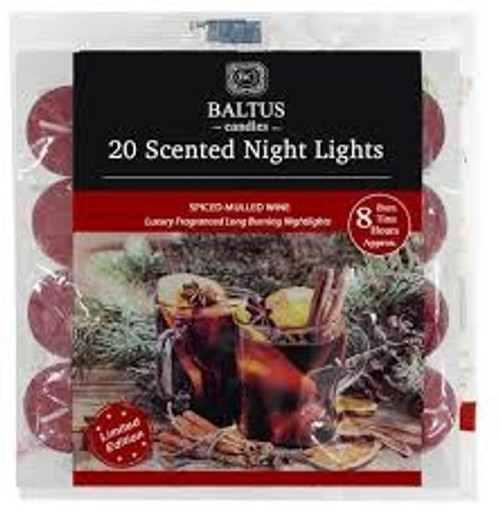 20 Scented Night Light Candles Spiced Mulled Wine