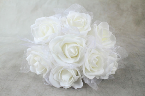 8 x Large Colourfast Foam Roses with Tuille Wrap White