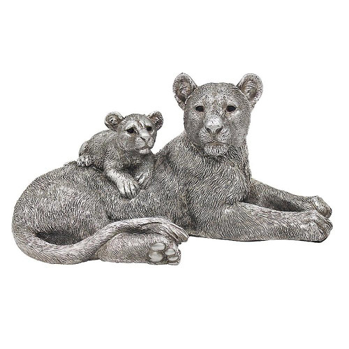 Leonardo Collection Reflections Silver Lion and Baby Resin Figurine