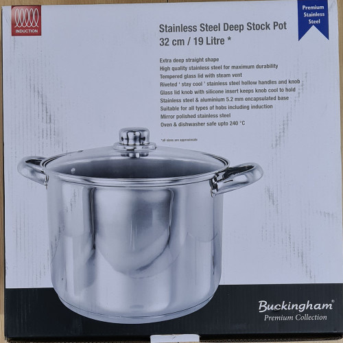 Buckingham Deep Induction Stock Pot With Glass Lid 32cm 19L Stainless Steel
