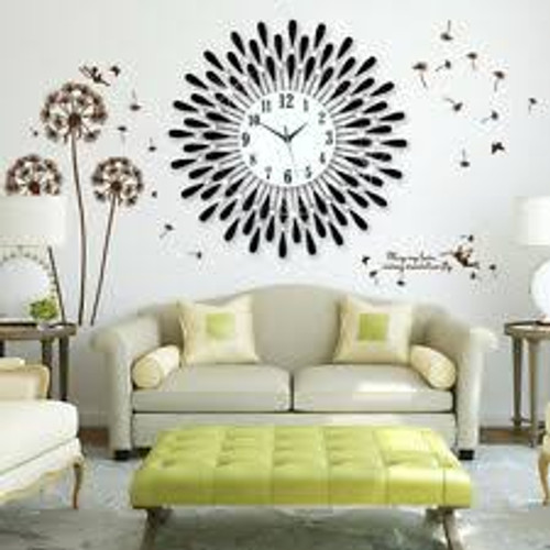 50cm Clear Diamante Jewelled Black Metal Spiked Sunflower Wall Clock