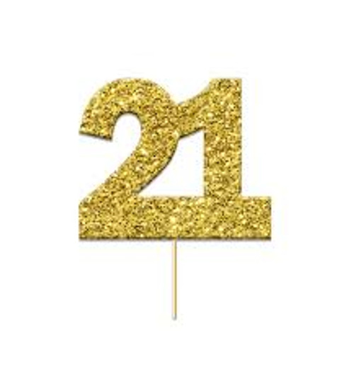 Cupcake Toppers Gold Age 21 Pk12