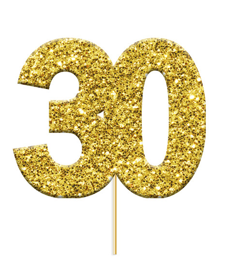 Cupcake Toppers Gold Age 30 Pk12