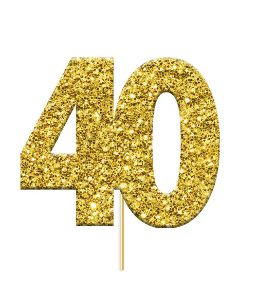 Cupcake Toppers Gold Age 40 Pk12