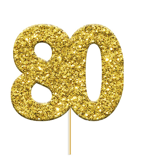 Cupcake Toppers Gold Age 80 Pk12