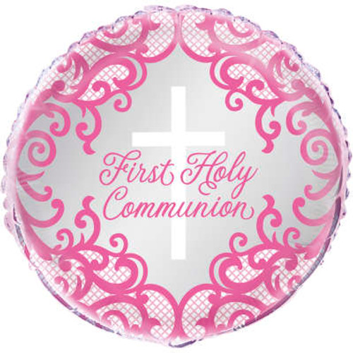 H100 18in Foil Pink Cross Balloon Commmunion or Christening