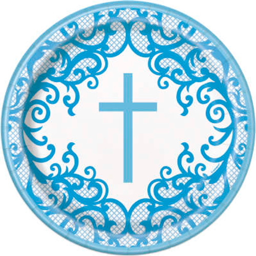 Blue Cross Plates Communion or Christening 9in
