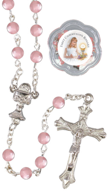 First Holy Communion Acrylic Pearl Pink Rosary Beads in Gift Box