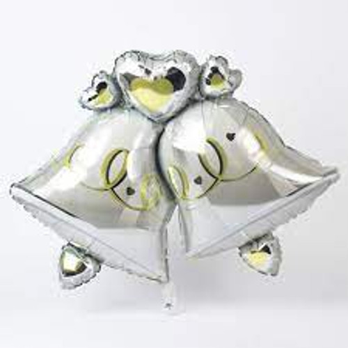 H300 Super Shape Foil Balloon Congratulations on Your Wedding Day Double Bells