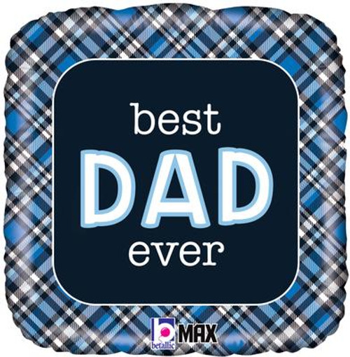 H100 18in Foil Balloon Best Dad Ever Plaid