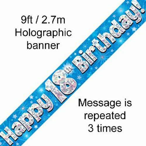 Blue Holographic Banner Age 18 9ft