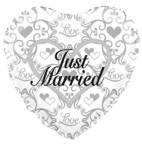 H100 18in Foil Balloon Just Married Filigree