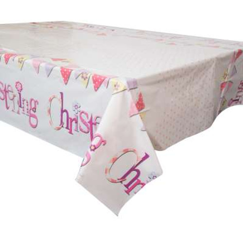 Pink Bunting Christening Tablecover 54x84in