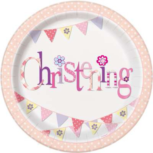 Pink Bunting Christening Plates Pk8 9in