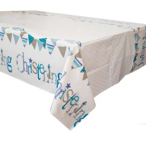 Blue Bunting Christening Tablecover 54x84in