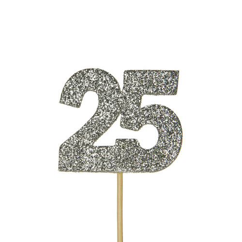 Glitter 25 Numeral Cupcake Toppers Silver
