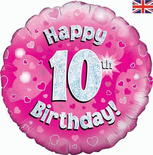 H100 18in Foil Balloon Pink Holographic Age 10