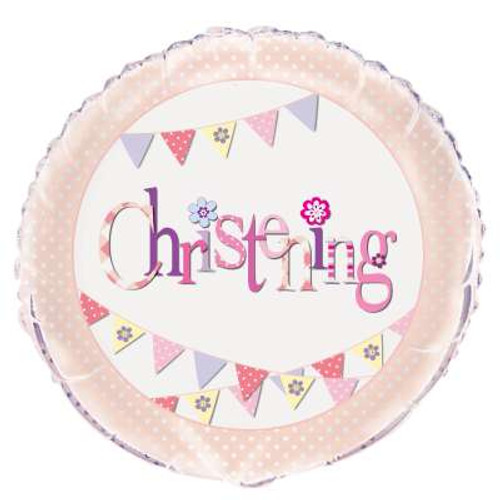 H100 18in Foil Pink Bunting Christening