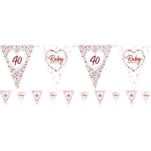 Ruby Anniversary Paper Flag Bunting Foil Stamped