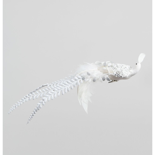22cm Bead and Feather Bird with Clip White