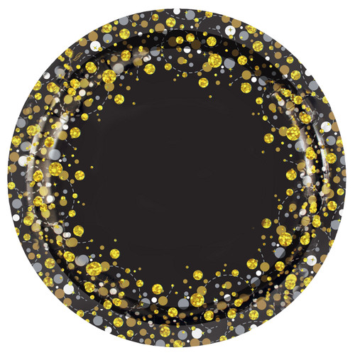 Black and Gold Sparkling Fizz Plates 9in 23cm Pk8