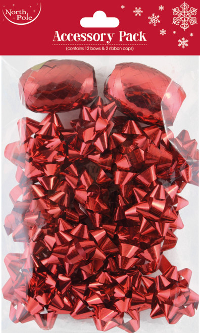 Bows Red Pk12 With Ribbon Cops