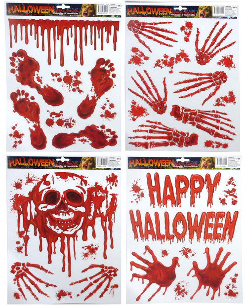 BLOODY WINDOW CLING SKULL AND SKELETON HANDS