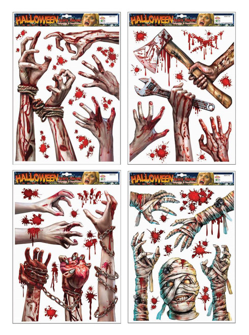 BLOODY WINDOW CLING HANDS WITH SPANNER AND AXE