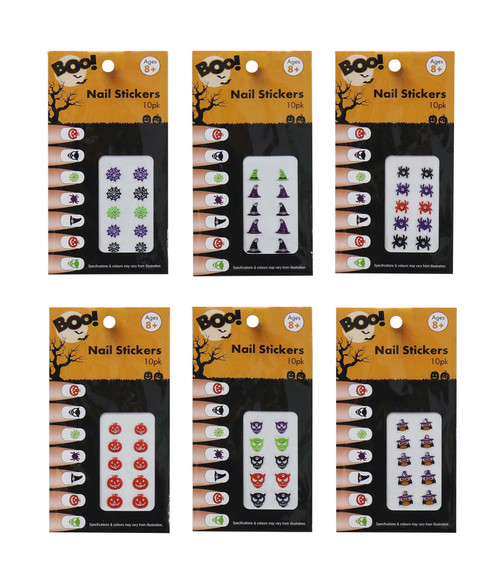 NAIL STICKERS 10 PK WITCH HATS