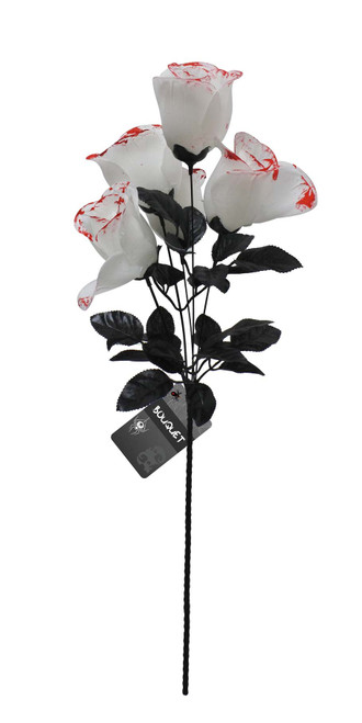 BLOODY WHITE ROSE BOUQUET 35 Cm