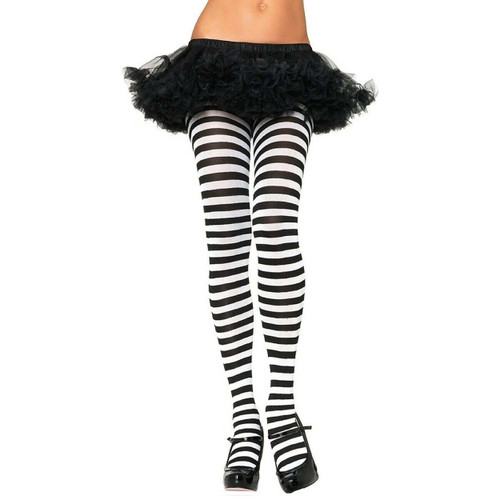 ADULT STRIPED TIGHTS BLACK AND