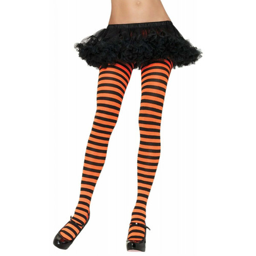 ADULT STRIPED TIGHTS BLACK AND ORANGE