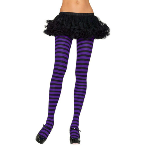 ADULT STRIPED TIGHTS BLACK AND PURPLE