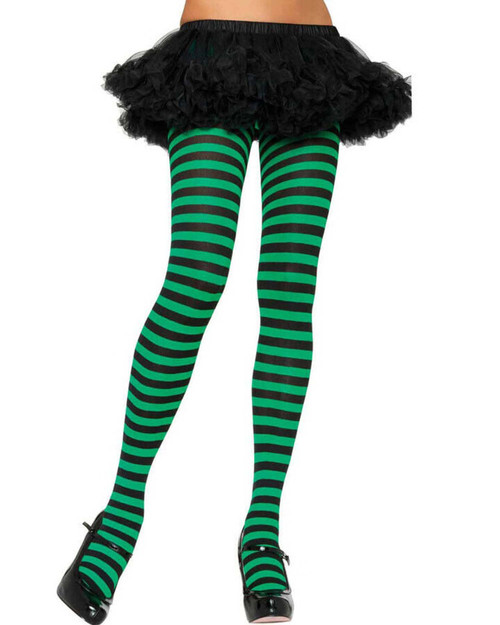 ADULT STRIPED TIGHTS BLACK AND GREEN